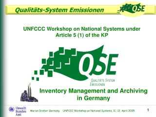 UNFCCC Workshop on National Systems under Article 5 (1) of the KP