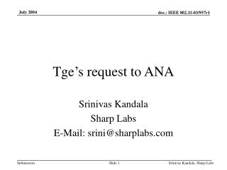 Tge's request to ANA