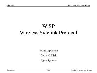 WiSP Wireless Sidelink Protocol