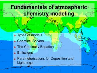 Fundamentals of atmospheric chemistry modeling