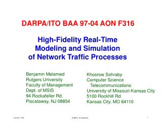High-Fidelity Real-Time  Modeling and Simulation  of Network Traffic Processes