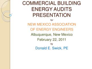 COMMERCIAL BUILDING ENERGY AUDITS PRESENTATION