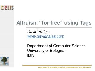 "Altruism ""for free"" using Tags"