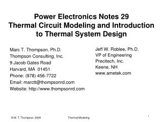 Power Electronics Notes 29 Thermal Circuit Modeling and Introduction to Thermal System Design