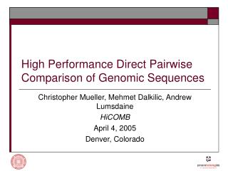 High Performance Direct Pairwise Comparison of Genomic Sequences