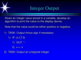 Integer Output