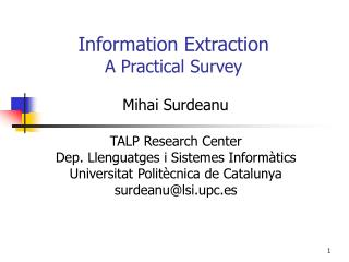 Information Extraction A Practical Survey