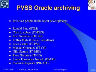 PVSS Oracle archiving