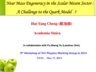 Near Mass Degeneracy in the Scalar Meson Sector :           A Challenge to the Quark Model   ?