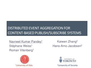 Distributed event aggregation for content-based Publish/Subscribe systems