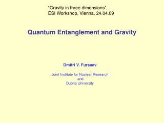Quantum Entanglement and Gravity
