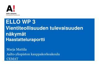 ELLO WP 3 Vientiteollisuuden tulevaisuuden näkymät Haastatteluraportti