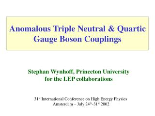 Anomalous Triple Neutral & Quartic Gauge Boson Couplings