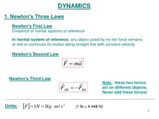 DYNAMICS 1. Newton's Three Laws Newton's First Law Existence of inertial systems of reference