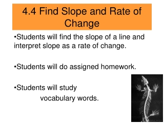 Finding Slope and Rate of Change