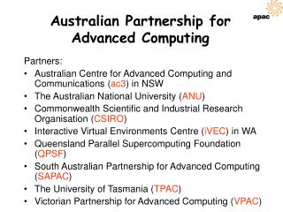 Australian Partnership for Advanced Computing