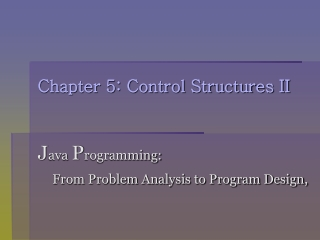 Control Structures II