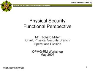 Physical Security Functional Perspective