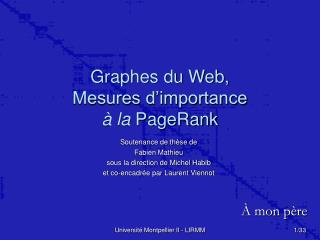 Graphes du Web, Mesures d'importance à la  PageRank