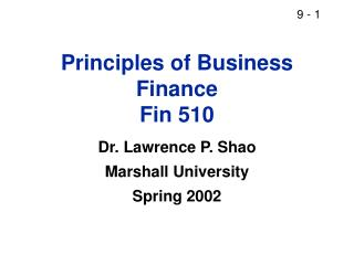 Principles of Business Finance Fin 510