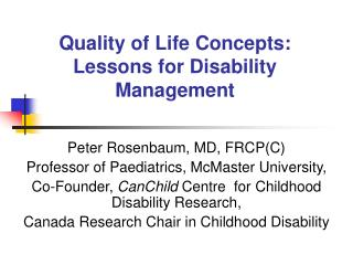 Quality of Life Concepts: Lessons for Disability Management