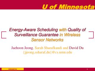 Energy-Aware Scheduling  with  Quality of Surveillance Guarantee  in Wireless Sensor Networks