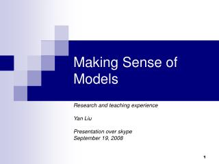 Making Sense of Models