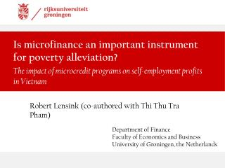 Is microfinance an important instrument for poverty alleviation?