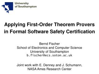 Applying First-Order Theorem Provers in Formal Software Safety Certification