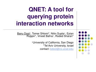 QNET: A tool for querying protein interaction networks