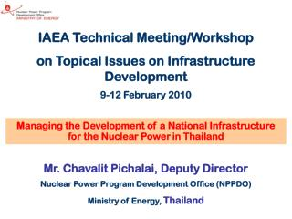 IAEA Technical Meeting/Workshop on Topical Issues on Infrastructure Development 9-12 February 2010
