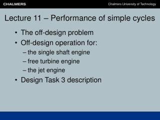 Lecture 11 – Performance of simple cycles