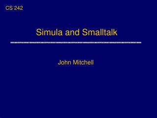 Simula and Smalltalk