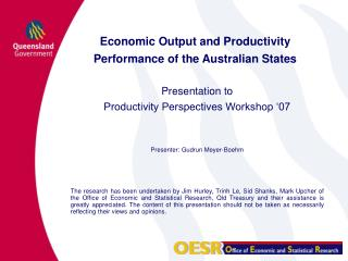 Economic Output and Productivity Performance of the Australian States