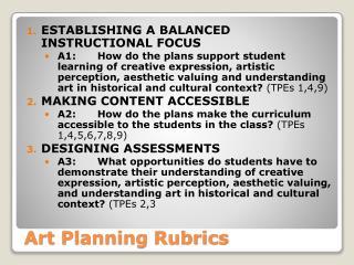 Art Planning Rubrics