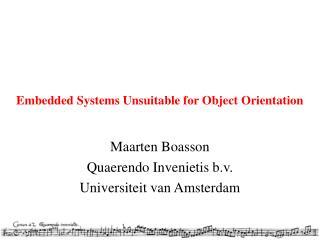 Embedded Systems Unsuitable for Object Orientation