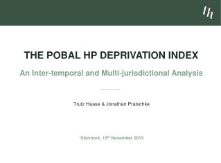 The Pobal HP Deprivation Index An Inter-temporal and Multi-jurisdictional Analysis