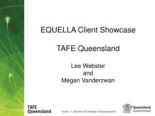 EQUELLA Client Showcase TAFE Queensland Lee Webster and Megan Vanderzwan