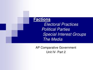 Factions Electoral Practices Political Parties  	Special Interest Groups 	The Media