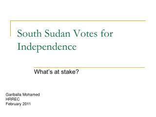 South Sudan Votes for Independence
