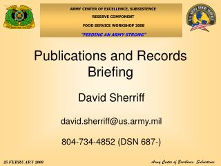 Publications and Records Briefing
