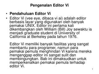 Pengenalan Editor Vi Pendahuluan Editor Vi