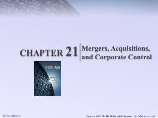 Mergers, Acquisitions and Corporate Control