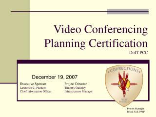 Video Conferencing  Planning Certification                  DoIT PCC