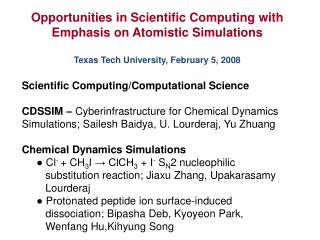 Opportunities in Scientific Computing with Emphasis on Atomistic Simulations