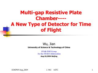 Multi-gap Resistive Plate Chamber---- A New Type of Detector for Time of Flight