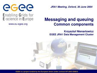 Messaging and queuing Common components Krzysztof Nienartowicz EGEE JRA1 Data Management Cluster