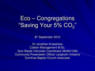 "Eco – Congregations ""Saving Your 5% CO 2 """