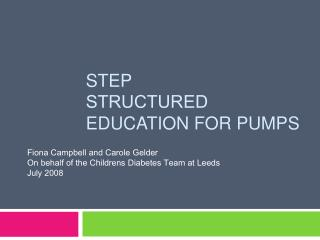 StEP Structured  Education for Pumps