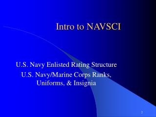 Intro to NAVSCI